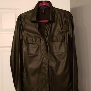 Black Torey Faux Leather Shirt